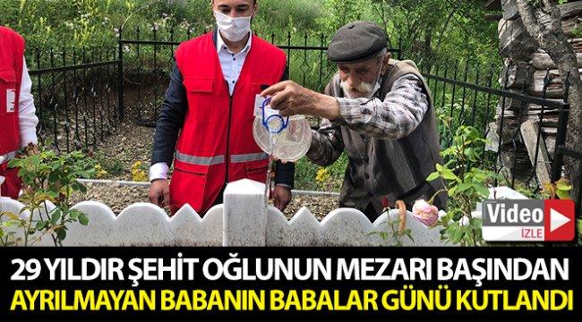 """29 yıldır şehit oğlunu mezarını bırakmayan ve köyde tek kalan babaya """"Babalar Günü"""" sürprizi"""