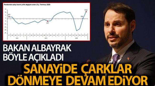 Bakan Albayrak: 'Temmuz'da yıllık bazda sanayi üretimi %4,4; perakende satış hacmi %11,9 arttı'