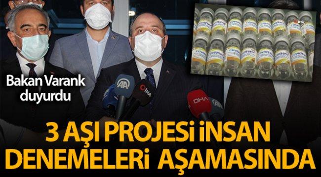 Türkiye'nin 3 aşı projesi insan denemeleri aşamasında
