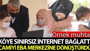 Muhtar, evinde interneti olmayan öğrenciler için köye sınırsız internet bağlattı