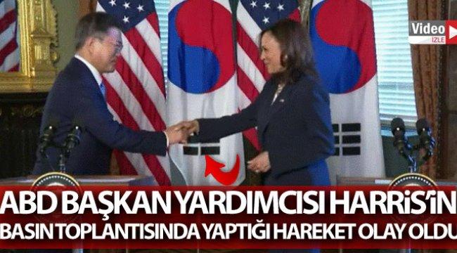 ABD Başkan Yardımcısı Harris'in basın toplantısında yaptığı hareket olay oldu