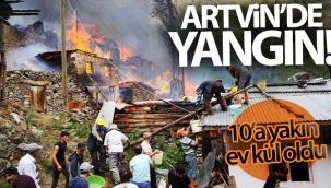 Artvin'in Yusufeli ilçesi Yüncüler köyünde yangın
