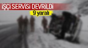Karaman'da işçi servisi devrildi: 9 yaralı
