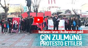 Karaman Sınav Fen Lisesi ve Anadolu Lisesi Çin'i Protesto etti