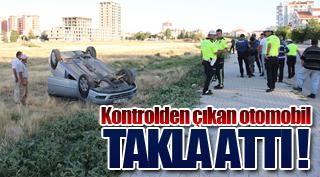 Kontrolden çıkan otomobil arsaya takla attı: 2 yaralı