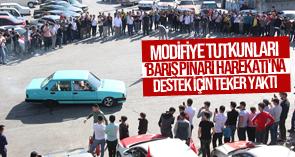Modifiye tutkunları 'Barış Pınarı Harekatı'na destek için teker yaktı  !