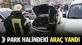 PARK HALİNDEKİ ARAÇ YANDI !